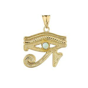 10K Solid Real Gold Eye Of Horus (Ra) Opal Pendant